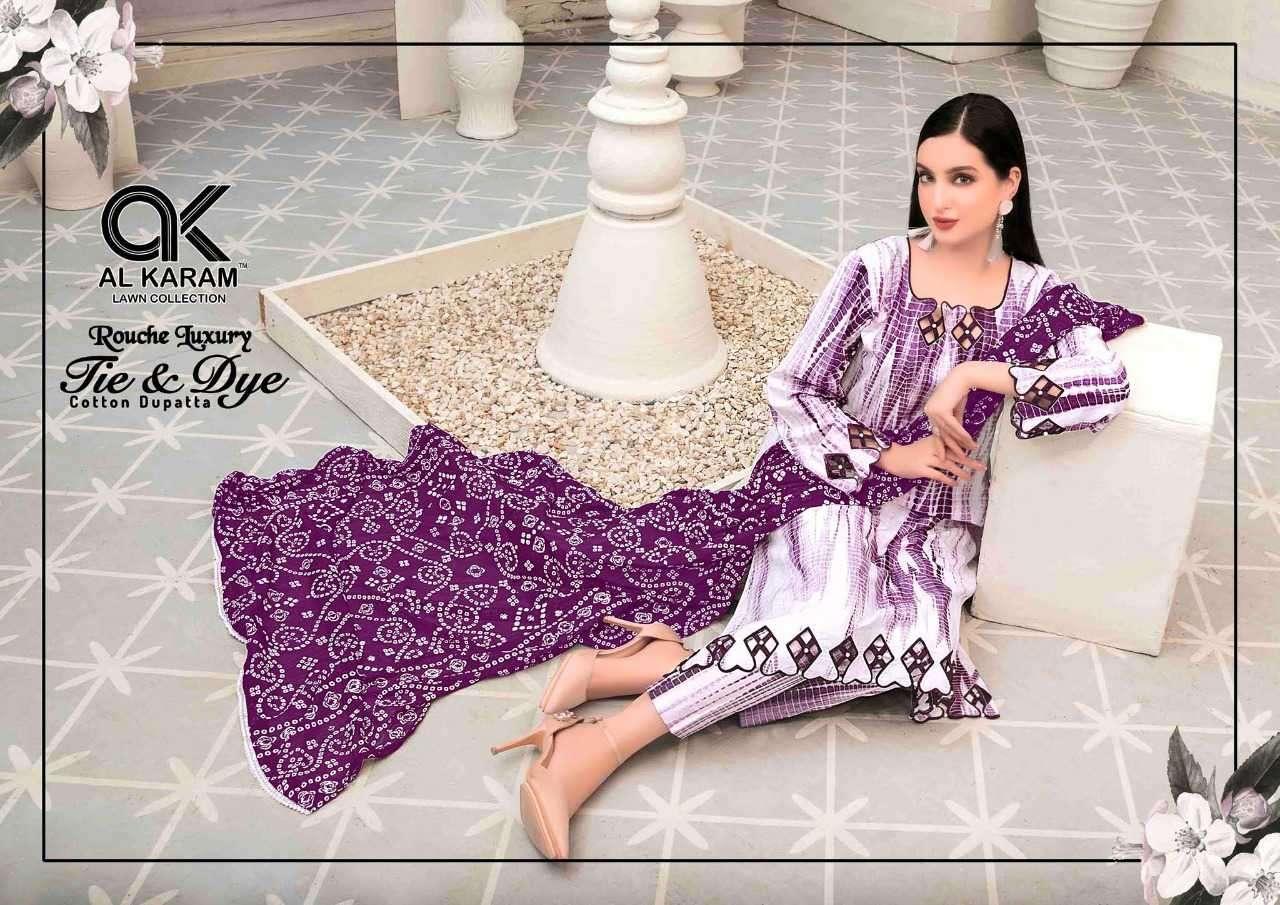 Al Karam Rouche Luxury Tie and Dye Cotton Print Suit Wholesale