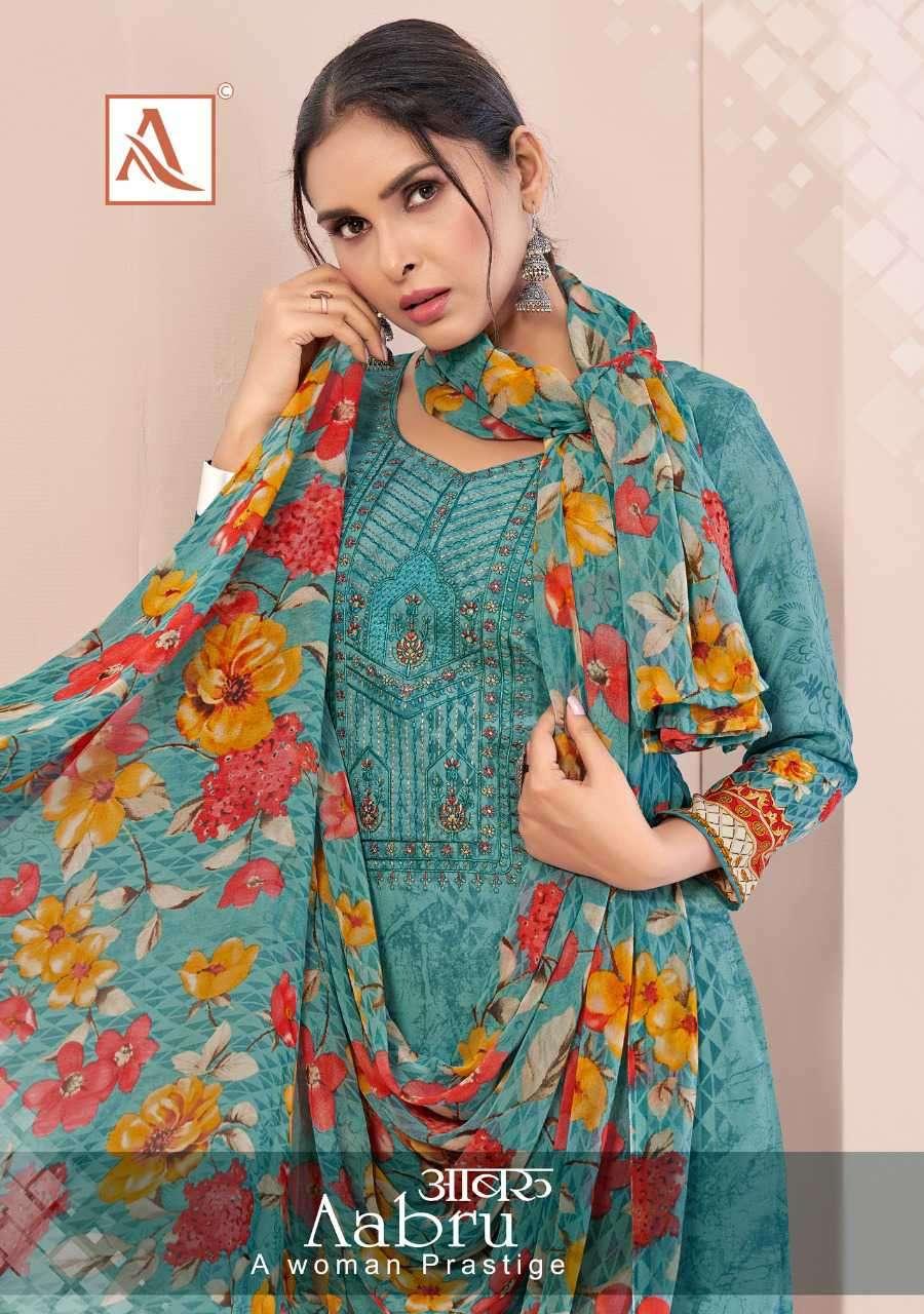 Alok Suits Aabru Fancy Crepe Digital Print Ladies Suit Catalogue Dealer
