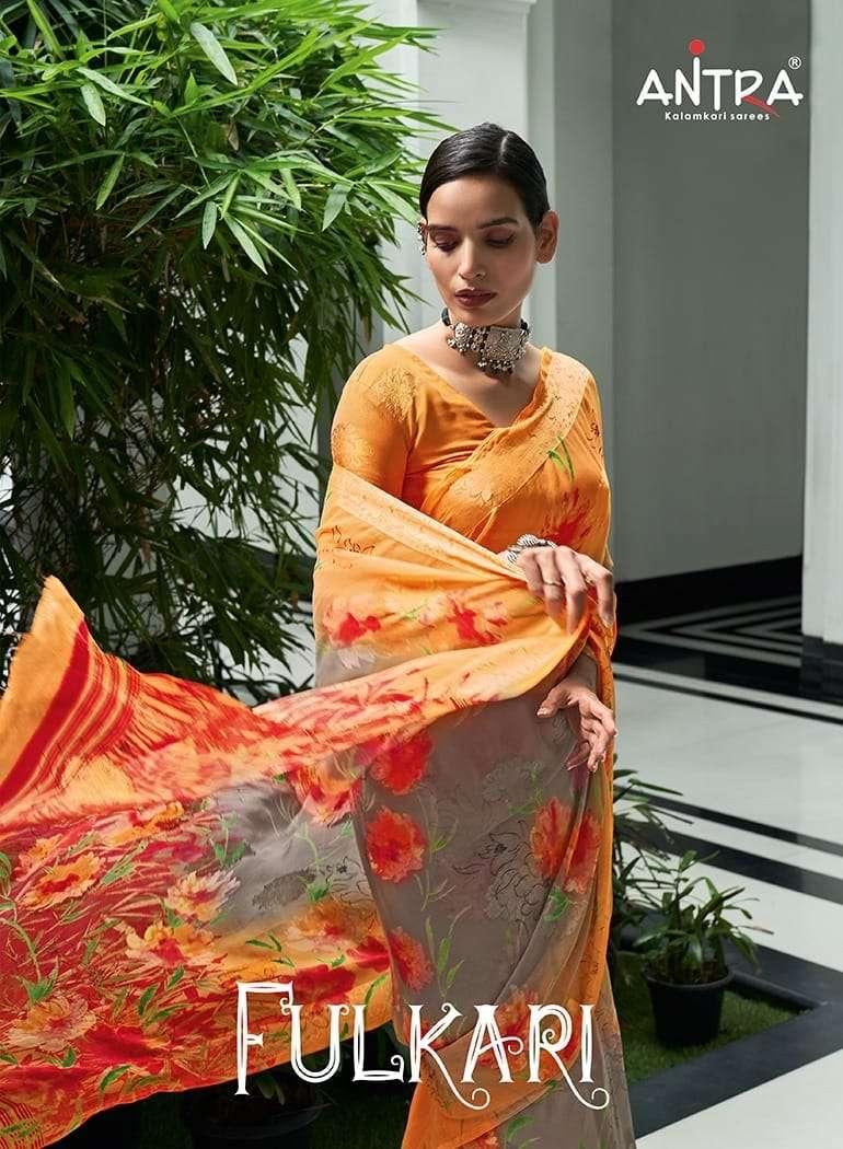 Antra Fulkari Georgette Printed Saree Dealer In Best Price