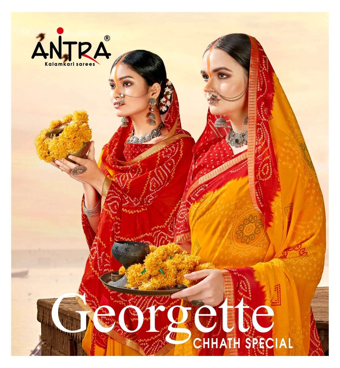 Antra Georgette Chhath Special printed Saree catalog Wholesale Dealer in Surat