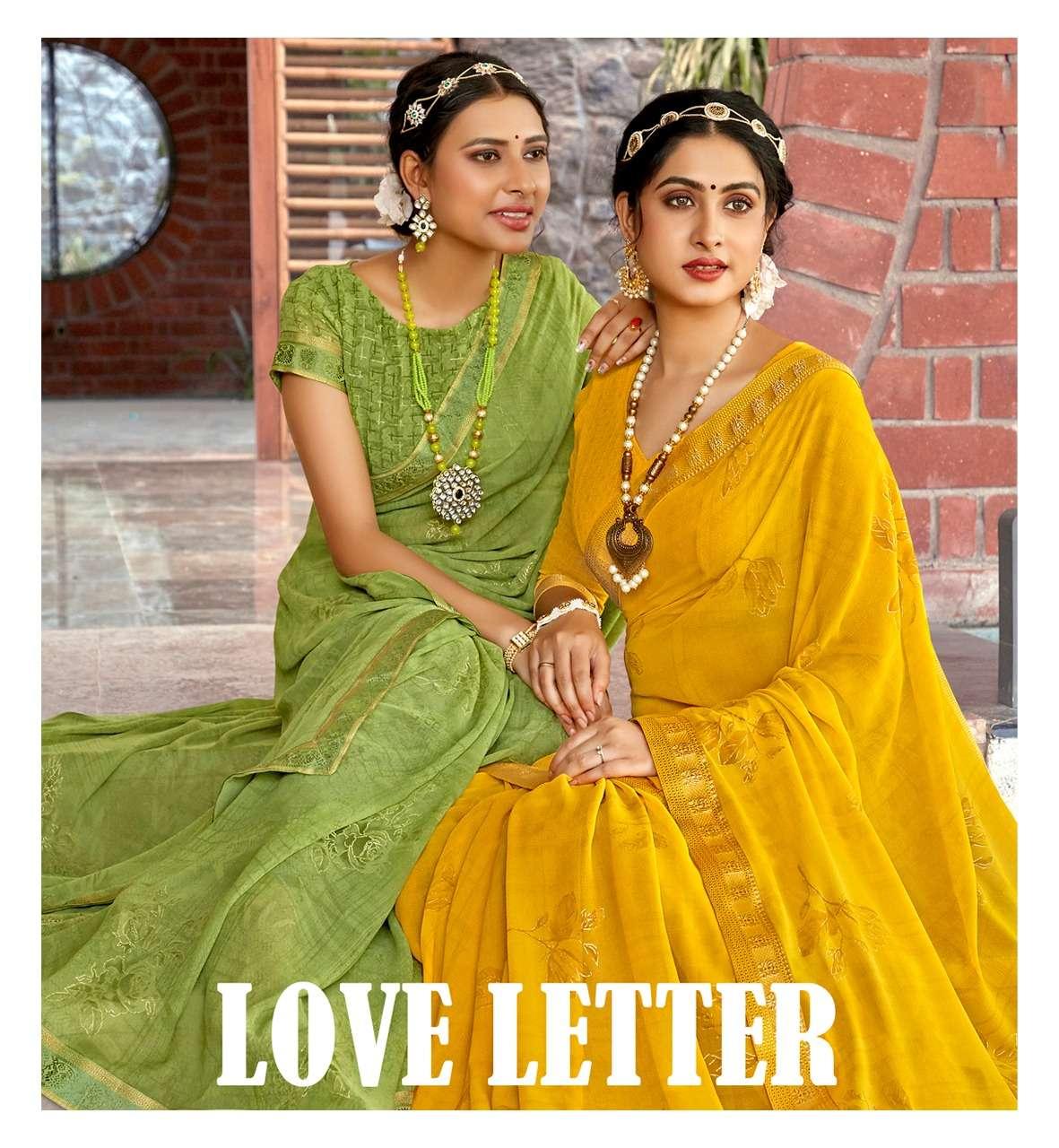 Antra Love Letter Vol 1 fancy Georgette Saree Catalog Dealer in Surat