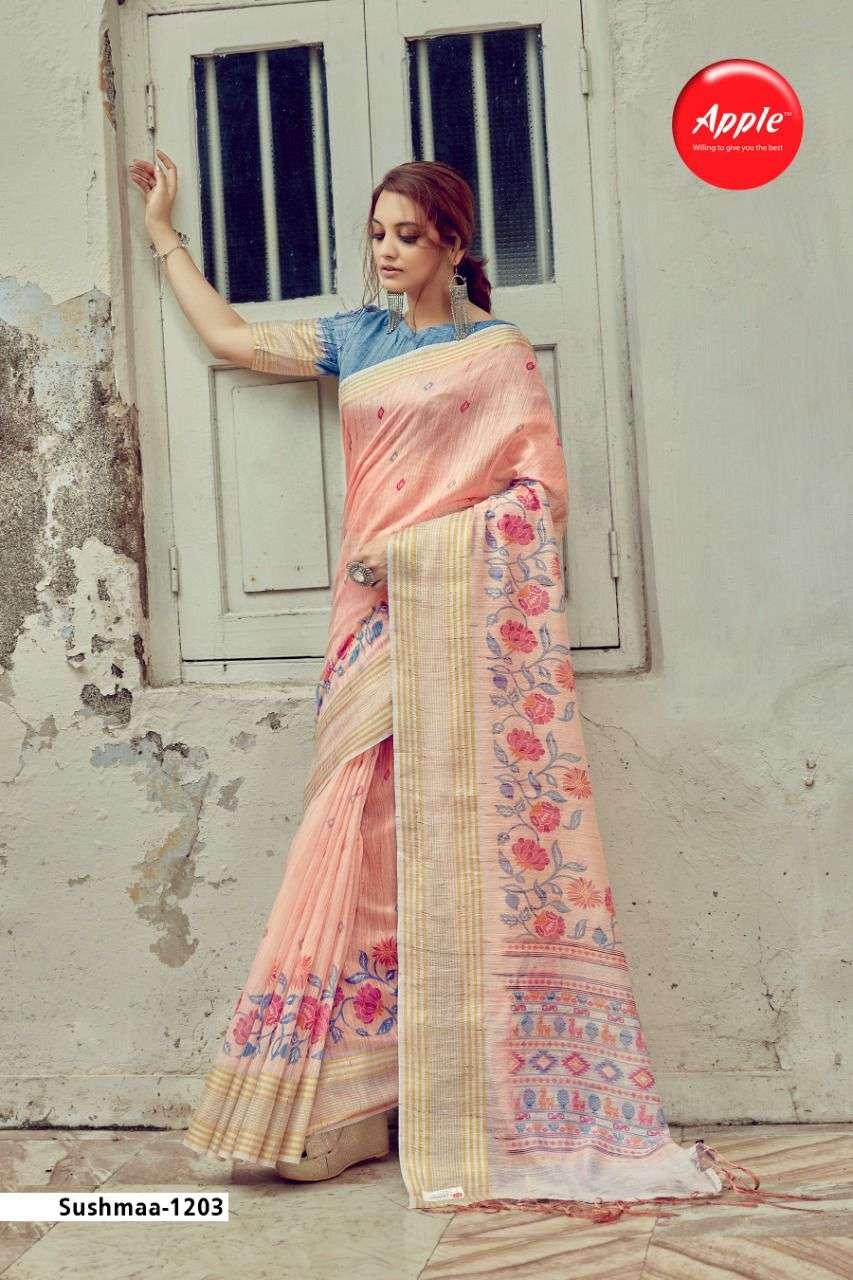 Apple Sushma Vol 12 Exclusive Linen Saree Catalog Supplir in Surat