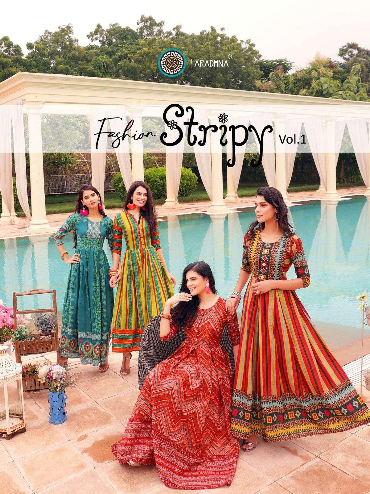 Aradhna Fashion Stripy Vol 1 Fancy Cotton Kurti Gown Catalog Wholesale Dealer