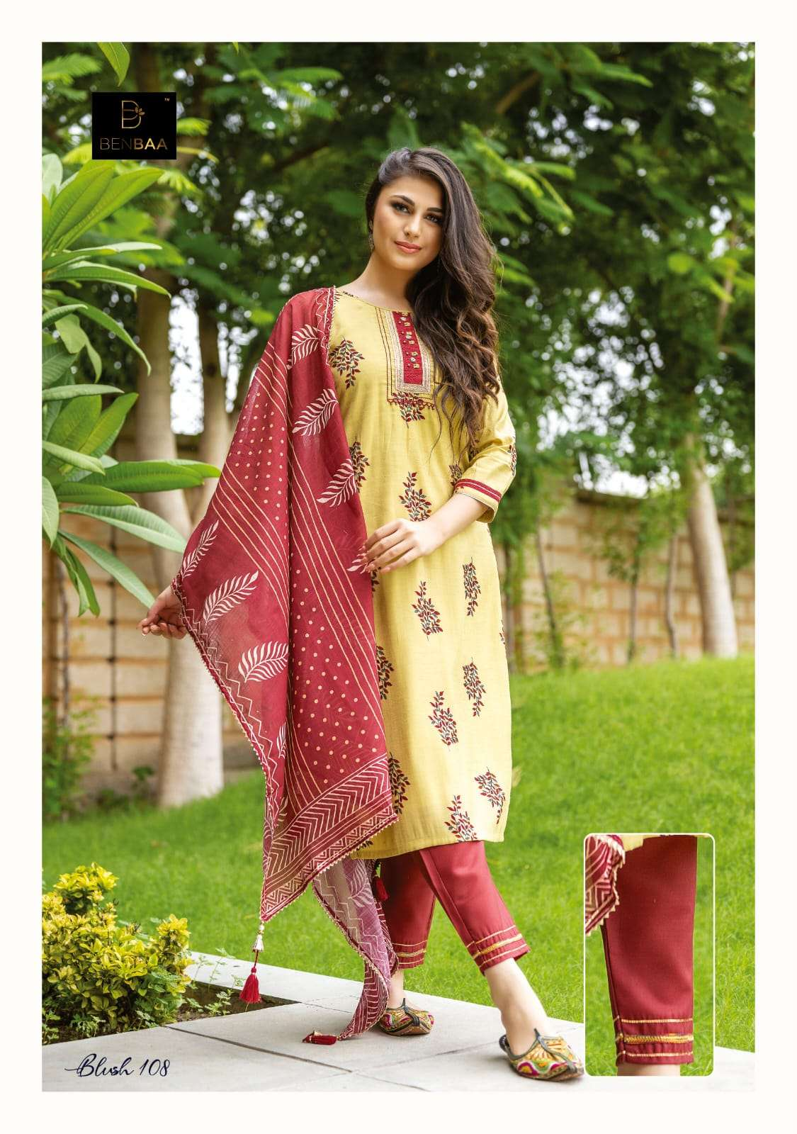 Benbaa Blush Fancy Cotton Kurti Bottom Dupatta Sets New Designs