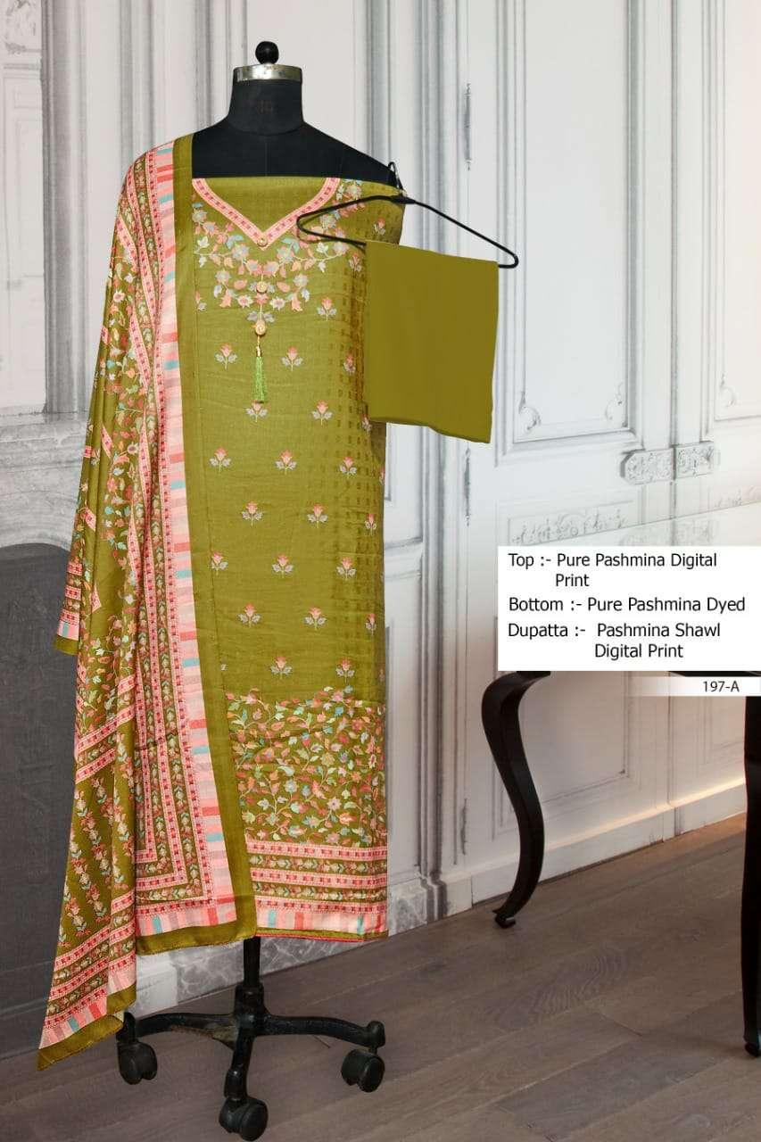 Bipson 197 Fancy Printed Pashmina Salwar Kameez Catalog Wholesaler