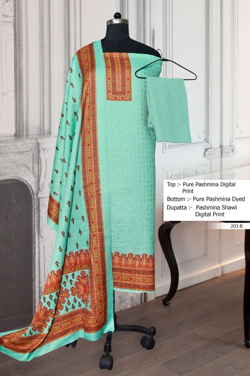 Bipson 203 Colours Pashmina Digital Print Salwar Suit Dealer