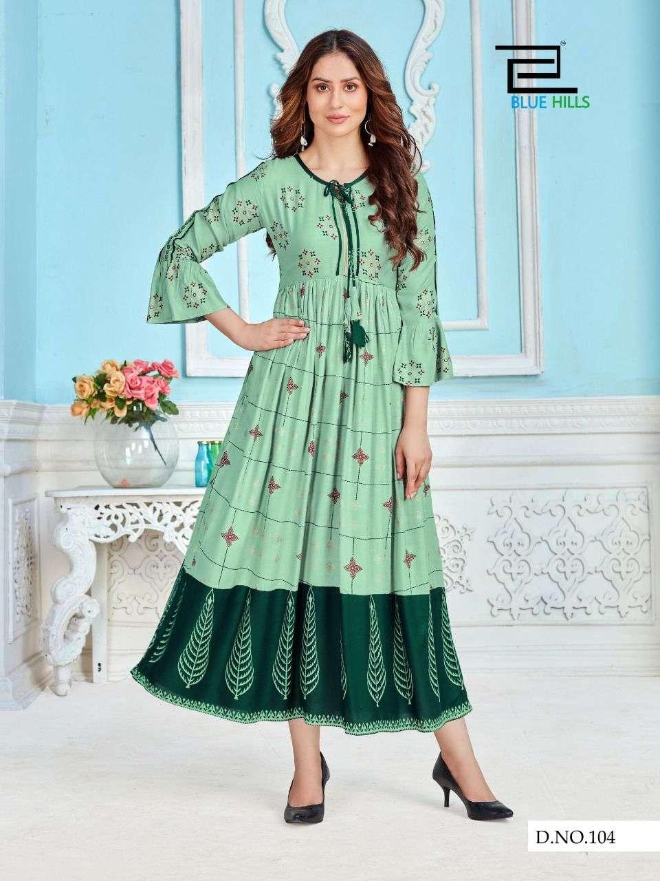 Blue Hills Khwaab Vol 1 Fancy Rayon Kurti Gown Catalog Supplier