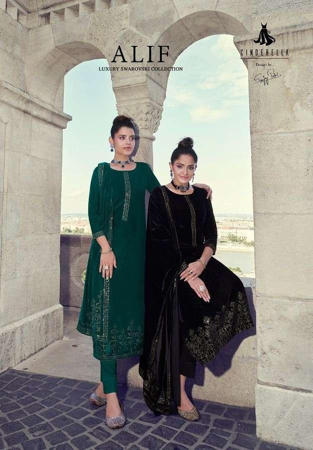 CIndrella Alif Designer velvet Salwar Kameez Catalog Dealer in Surat