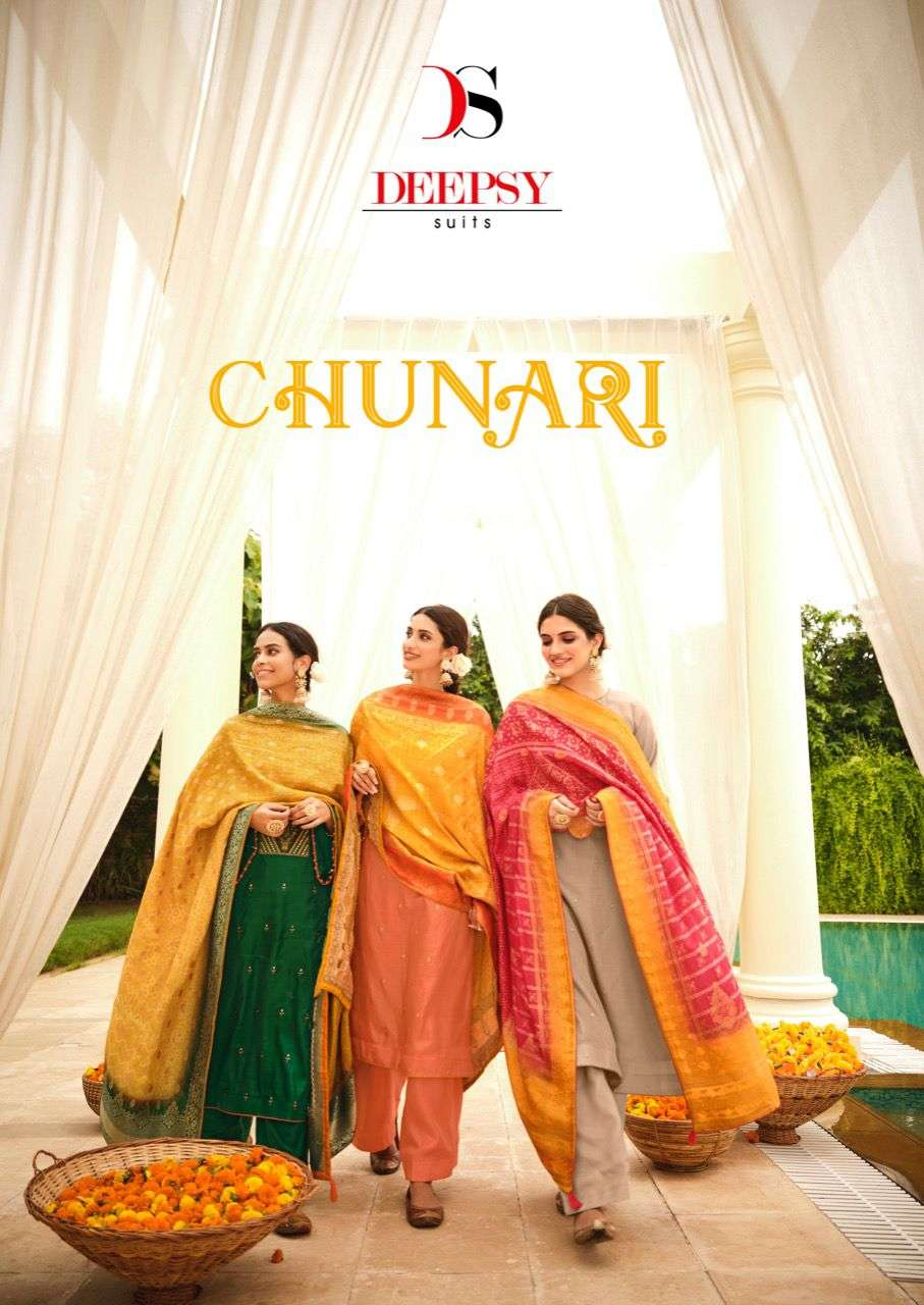 Deepsy Suits Chunari Exclusive Bnadhani Dupatta Silk Salwar Kameez Collection