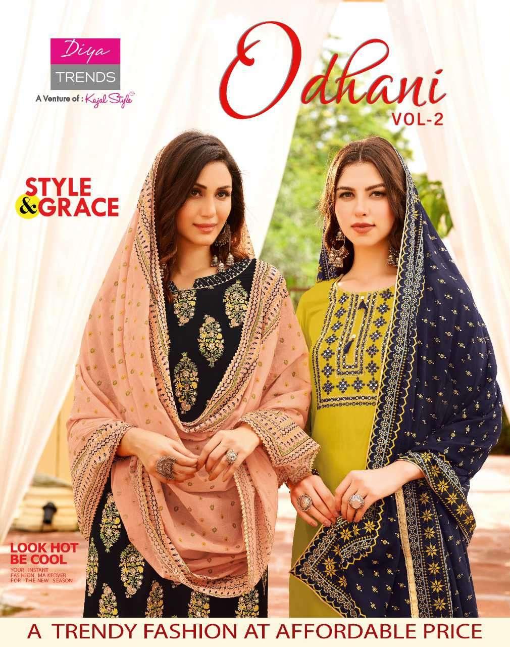 Diya Trends Odhani Vol 2 Fancy Kurti Pant Dupatta In Wholesale