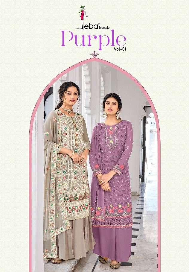 Eba Lifestyle Purple Vol 1 Party Wear georgette Suit Catalog Wholesaler