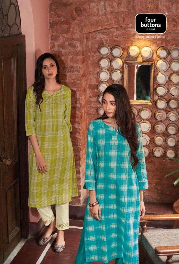 Four Buttons Arsh Exclusive Cotton Kurti pants Dupatta Sets Collection