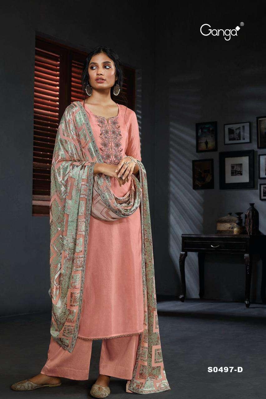 Ganga Ailen 497 Designer Habutai Silk Salwar kameez Catalog Wholesaler
