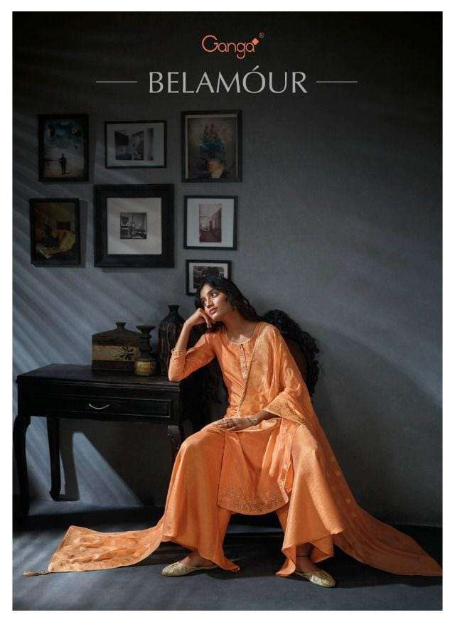 Ganga Belamour Exclusive Designer Silk Salwar kameez new Collection