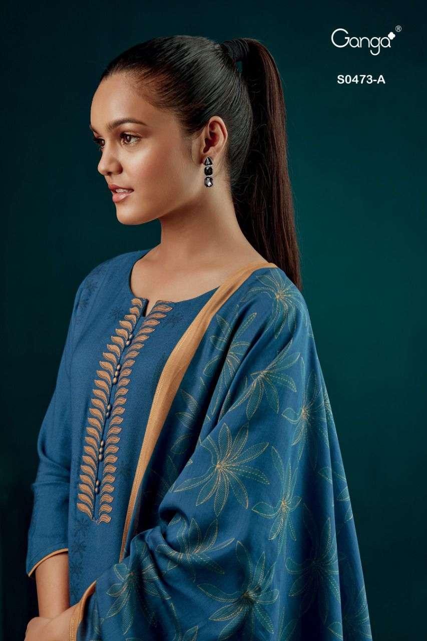 Ganga Elyse 473 Wholesale Pashmina Ganga Suit Authorised Dealer