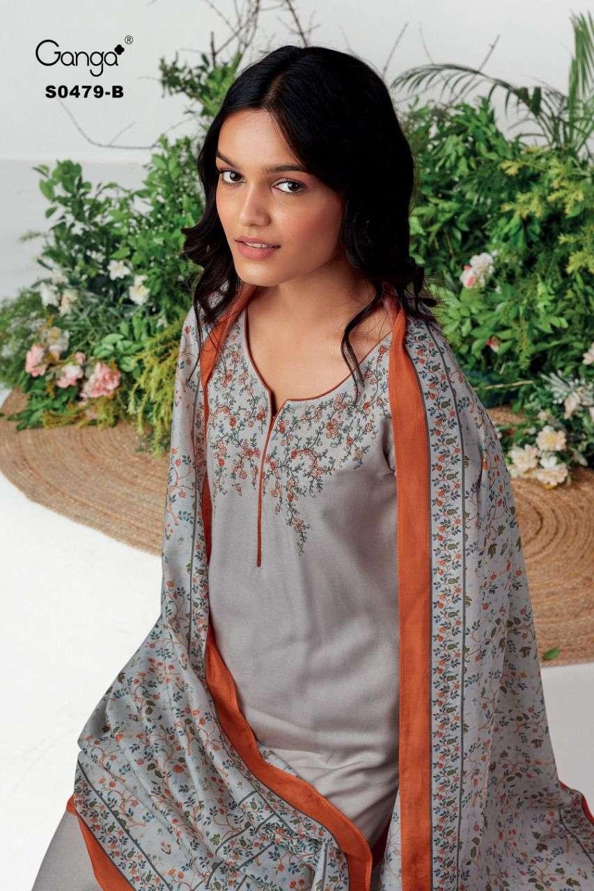 Ganga Elyse 479 Embroidery Work Pashmina Suit Online Ganga