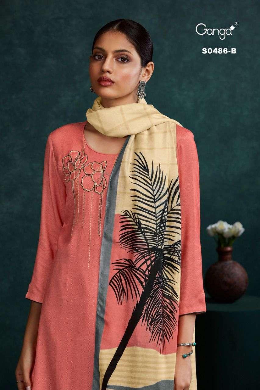 Ganga Elyse 486 Wool Dobby Embroidered Salwar Suit Wholesale