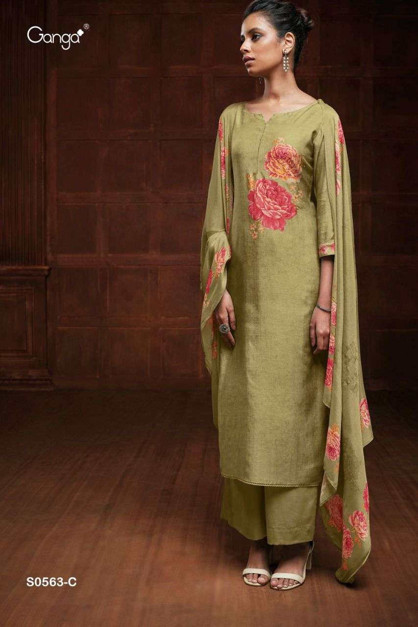 Ganga Eveleen 563 Partywear Silk Salwar Kameez Wholesaler