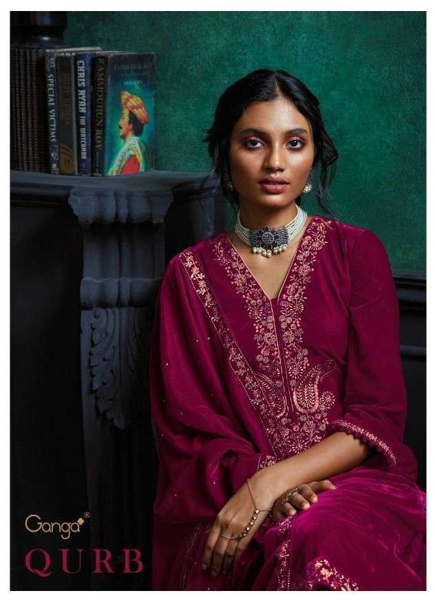 Ganga Fashion Qurb C702-C707 Exclusive Velvet Embroidery Suit