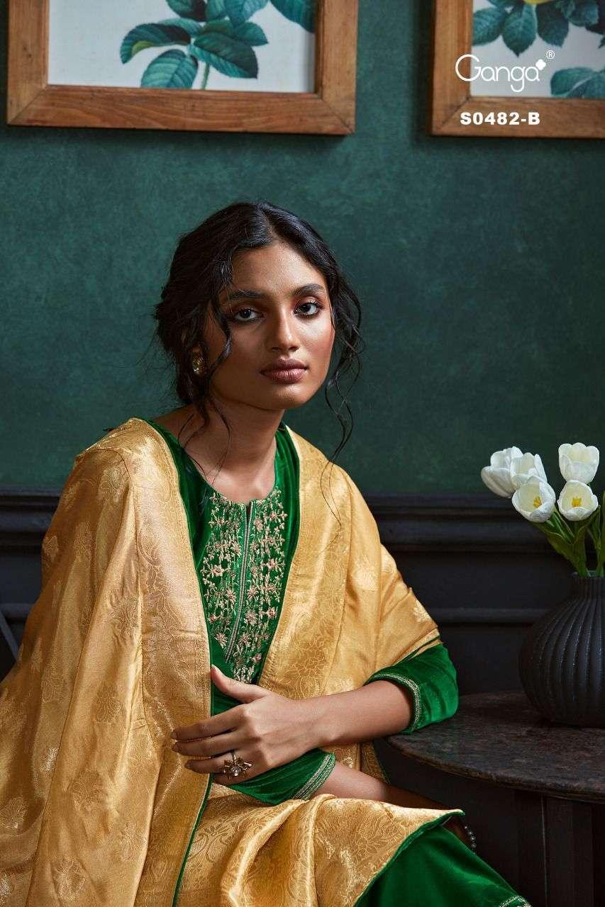 Ganga Lyla 482 Designer Winter Wear Velvet Salwar kameez New Catalog Wholesaler