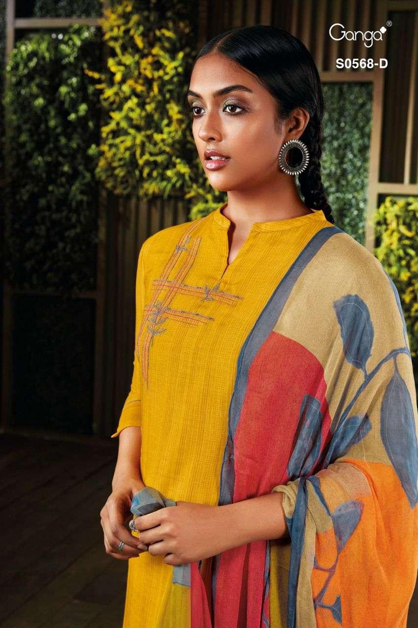 Ganga Minka 568 Cotton Satin Embroidery Work Salwar Suit Dealer
