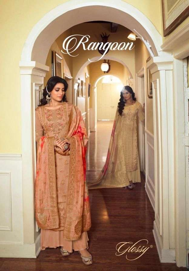 Glossy Rangoon Party Wear Straight Suit catalog Wholesale Supplier