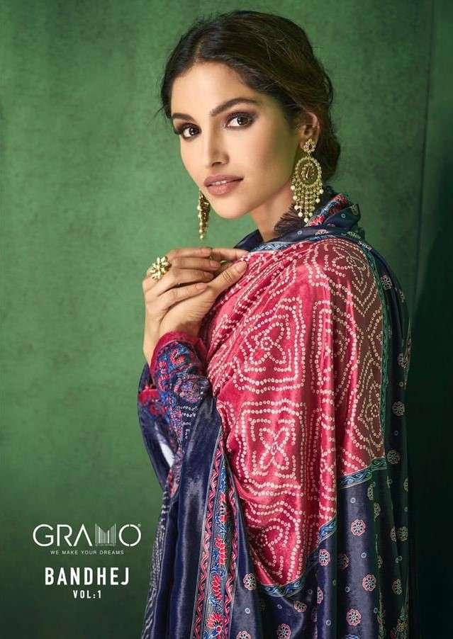 Gramo Bandhej Vol 1 Designer Velvet Salwar Kameez Catalog Supplier