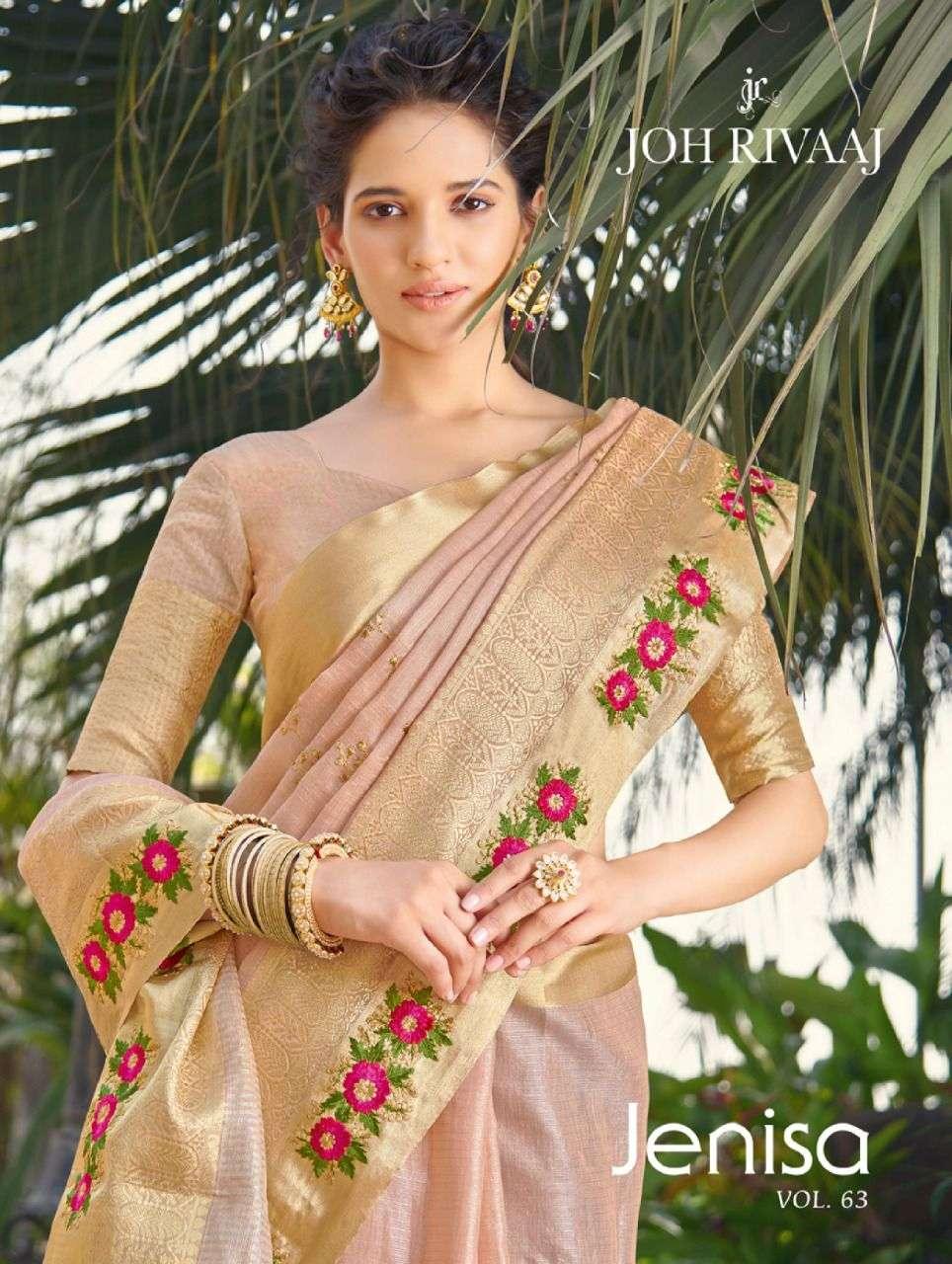 Joh Rivaaj Jenisa Vol 63 Exclusive Designer Party Wear Saree Catalog Wholesaler