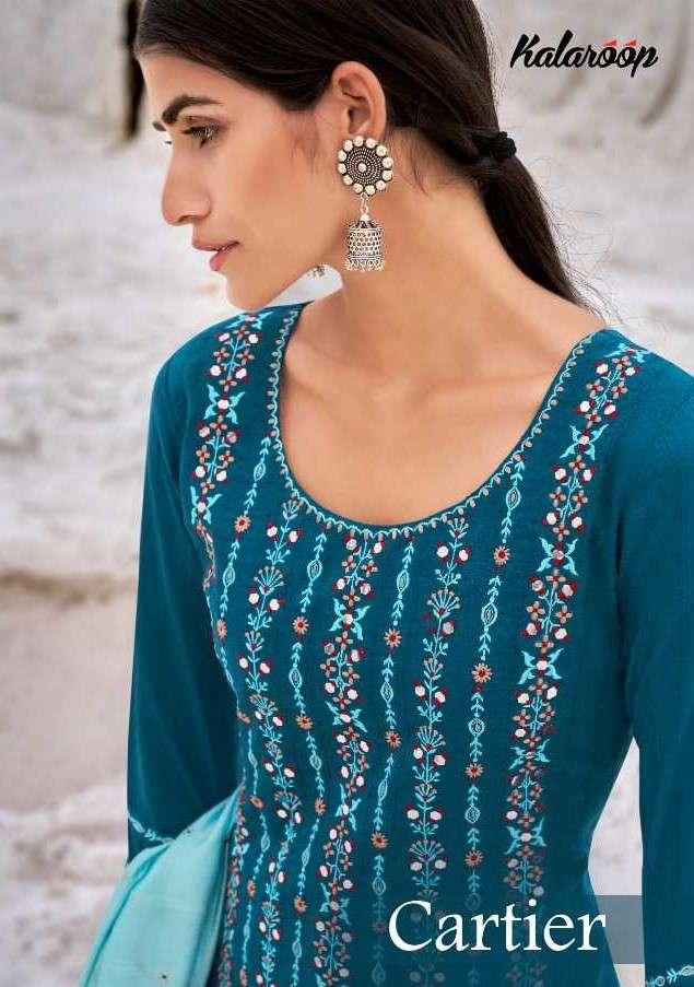 Kalaroop Cartier By Kajree Fancy Silk Kurti Pant Dupatta Collection Dealer
