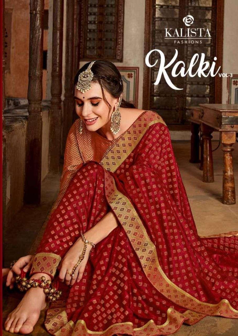 Kalista Kalki Vol 3 Fancy Vichitra Silk Saree Catalog Wholesale price