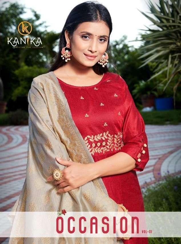 Kanika Occasion Vol 1 Exclusive Chanderi Kurti With banaras Dupatta Catalog Supplier