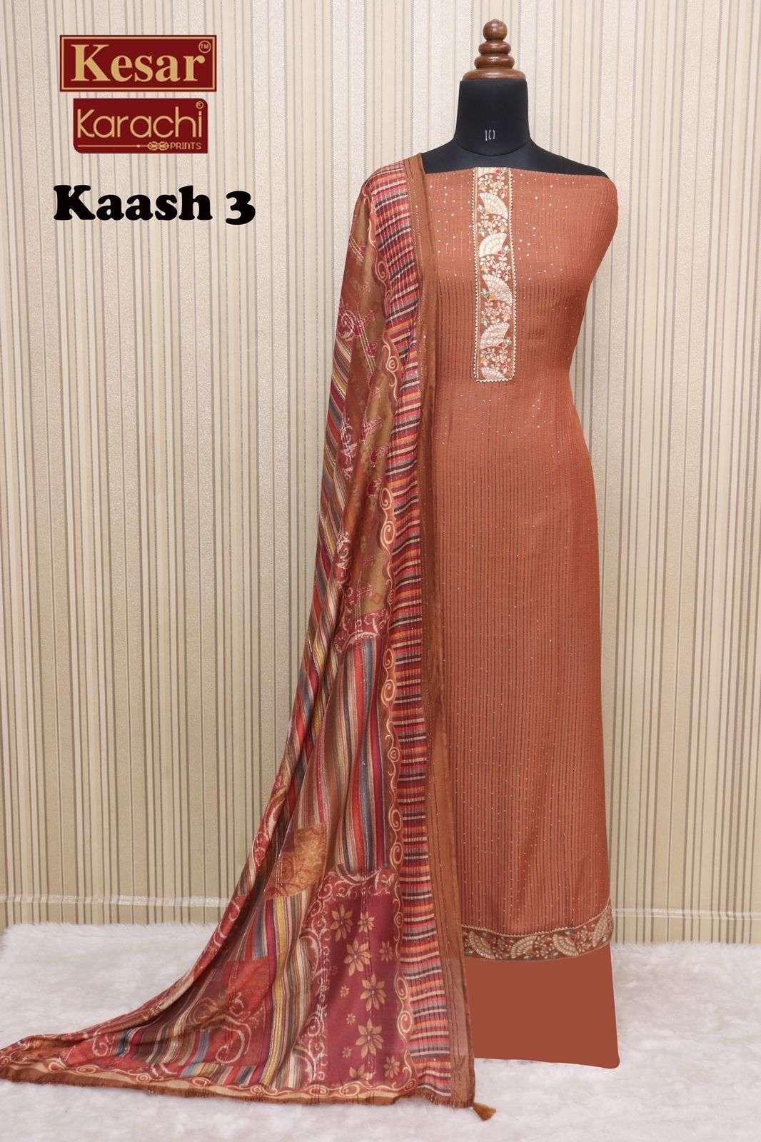 Kesar kaash Vol 3 By Karachi Print fancy Muslin Salwar kameez catalog Wholesaler