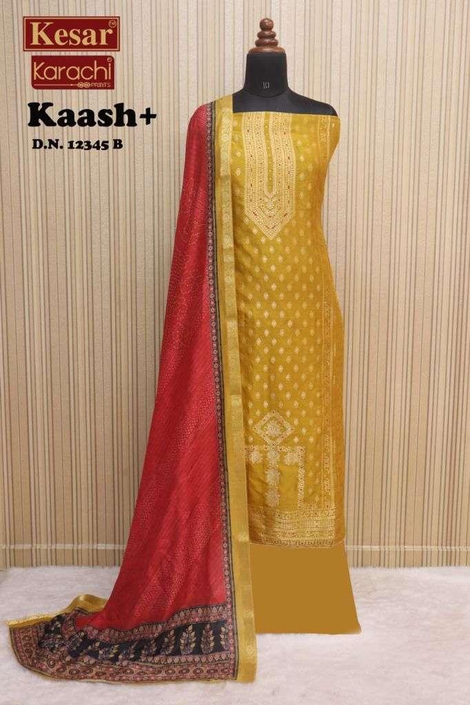 Kesar karachi Kaash Festive collection Dola jacquard Suit Catalog Supplier