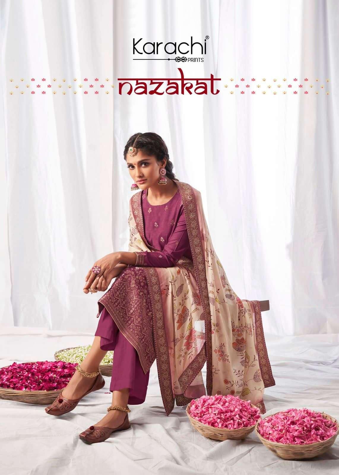 Kesar Nazakat By Karachi Prints Dola Jacquard Salwar Suit Wholesaler