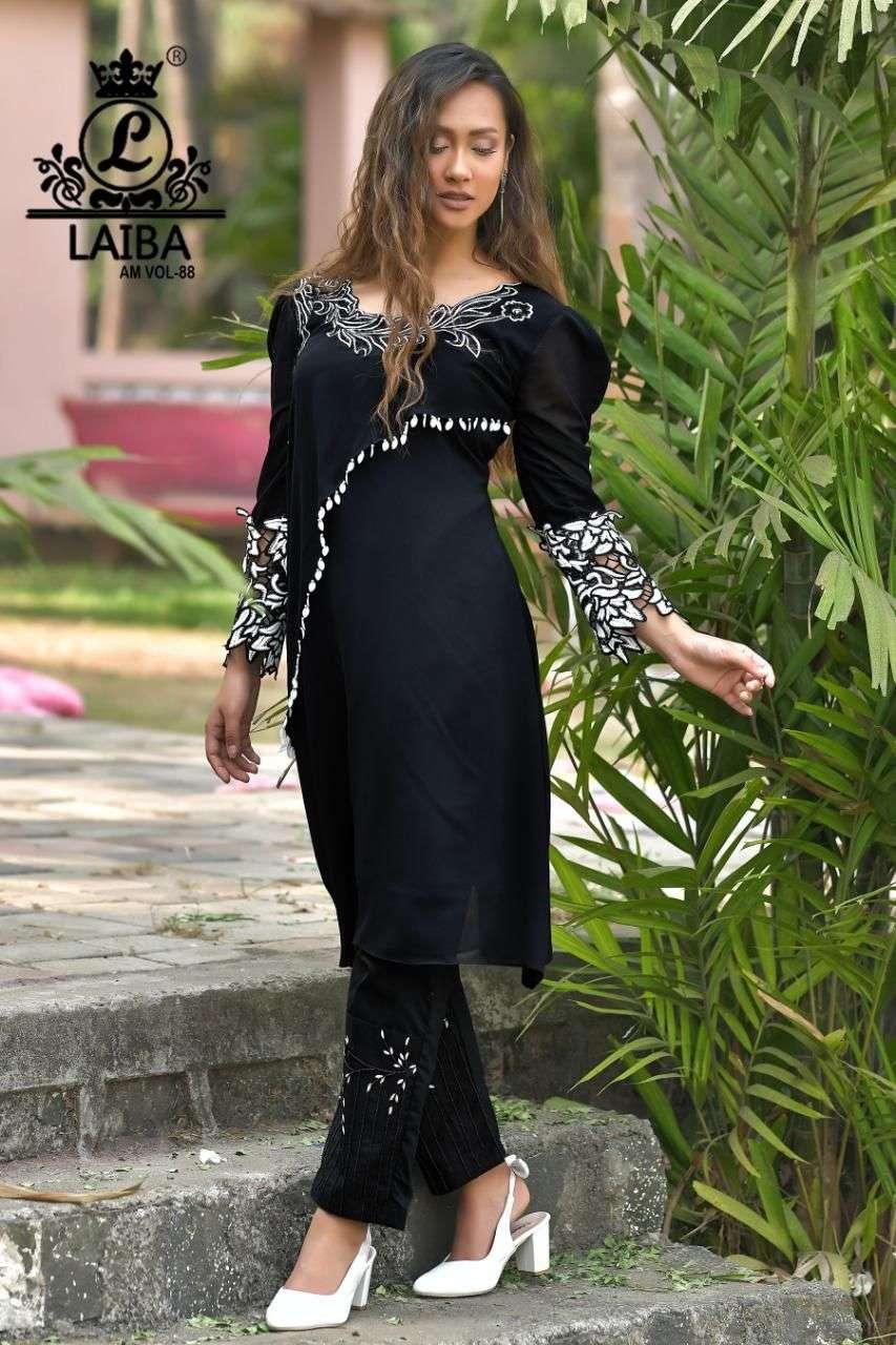 Laiba AM Vol 88 Exclusive Pakistani Style Georgette Kurti Bottom Set Catalog Wholesaler