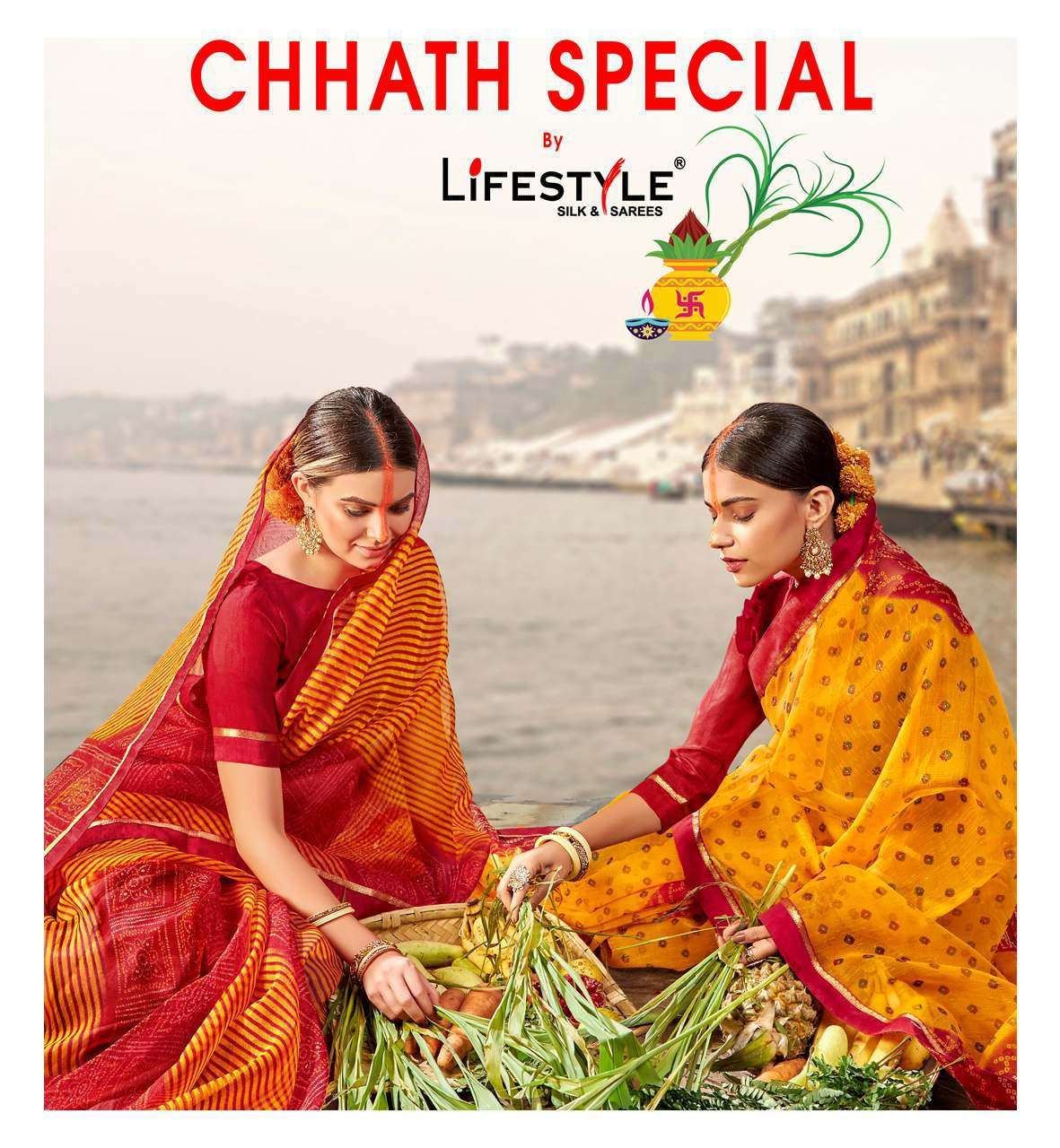 Lifestyle Chhat Special Exclusive Cotton Traditional Saree Catalog Supplier