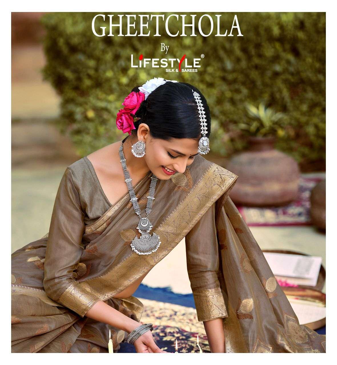 Lifestyle Geethchola Exclusive Fancy Organza Saree Catalog Wholesaler