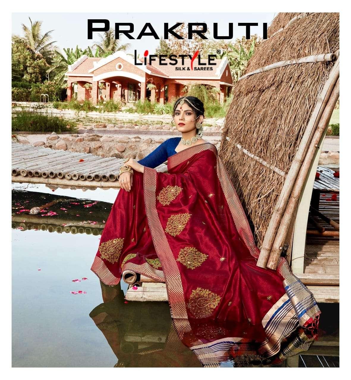 Lifestyle Prakruti Exclusive Crystal Silk Saree Catalog Wholesale Dealer