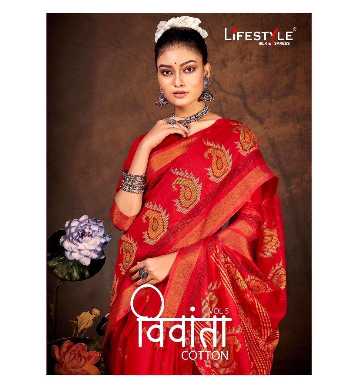 Lifestyle Vivanta Cotton Vol 5 Fancy Linen Cotton Saree Catalog Wholesale price