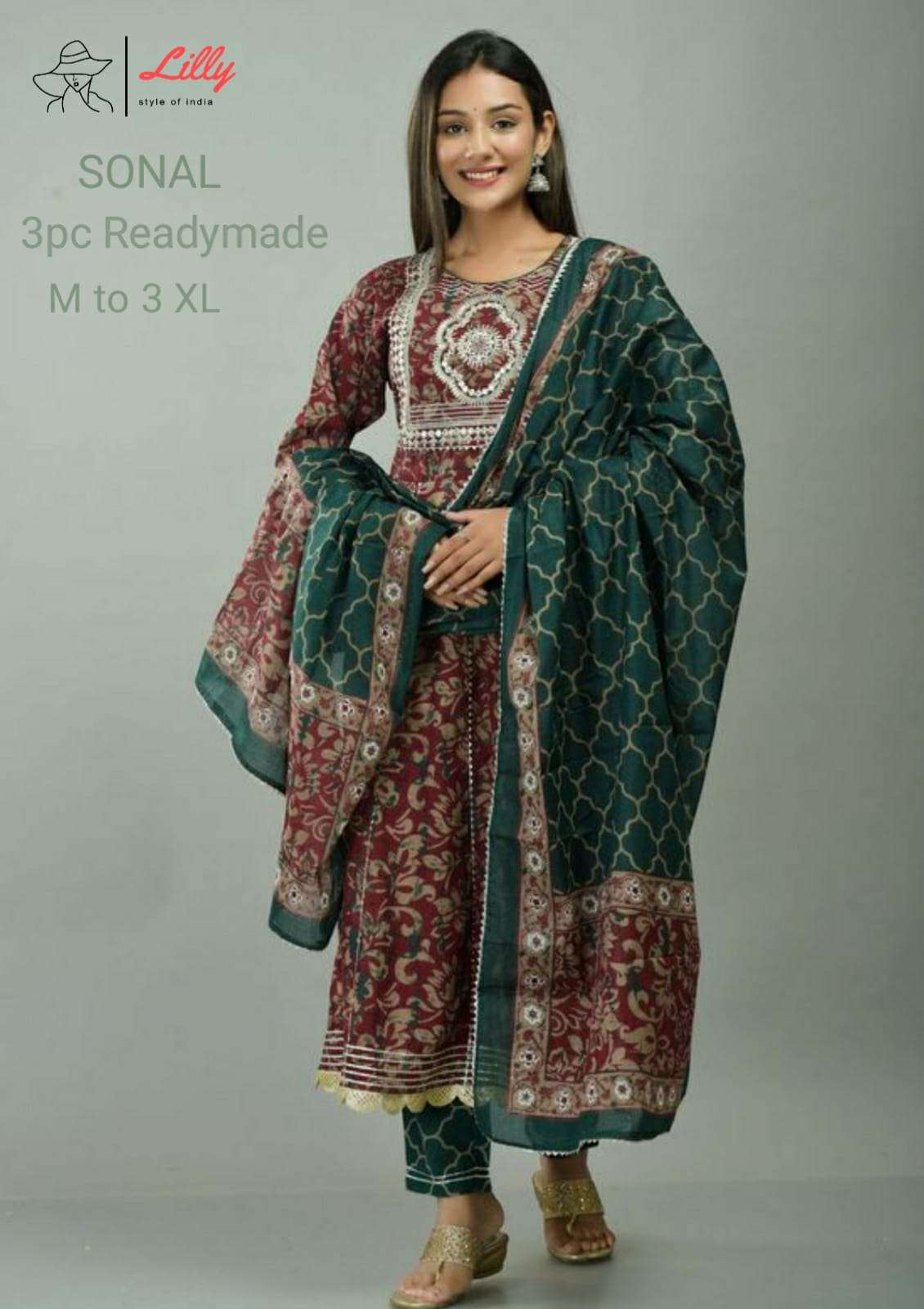 Lilly Sonal Exclusive Anarkali Kurti Bottom Dupatta Set New Collection