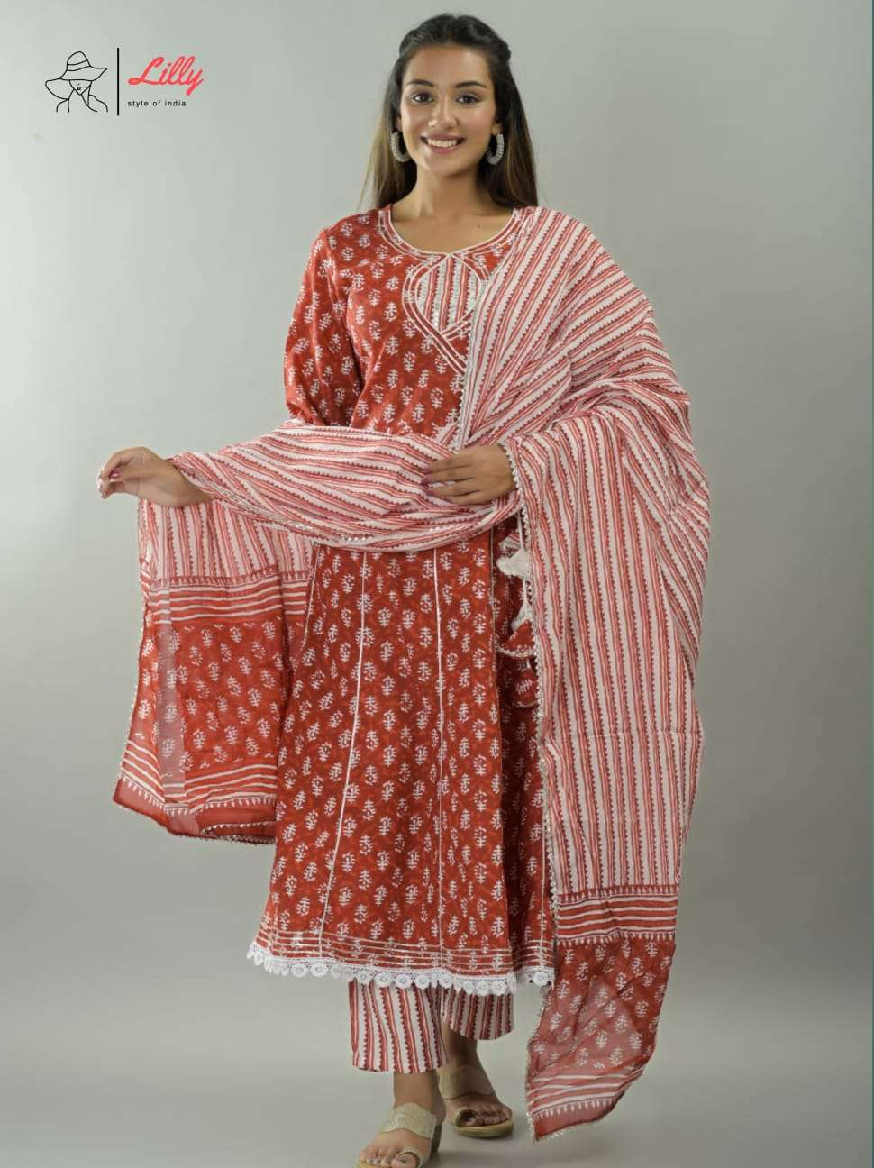 Lilly Womaniya Designer Anarkali Kurti Dupatta Size Set Catalog Supplier