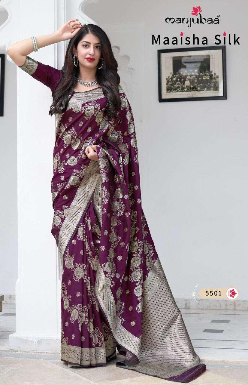 Manjuba Maaisha Silk Exclusive Banarasi Silk Saree Catalog Wholesale Dealer