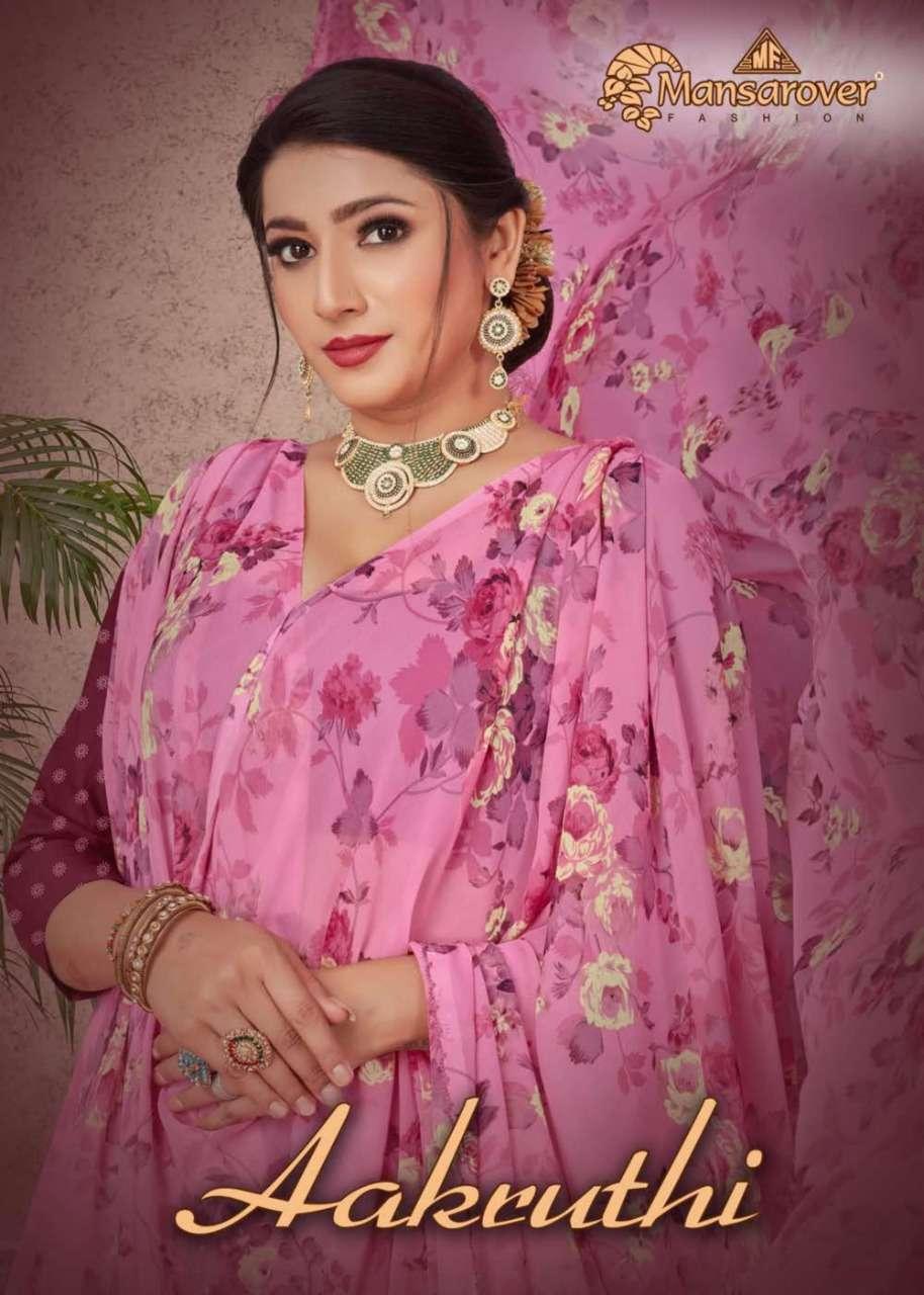 Mansarover Aakruthi Fancy Printed Saree Catalog Wholesale price in Surat