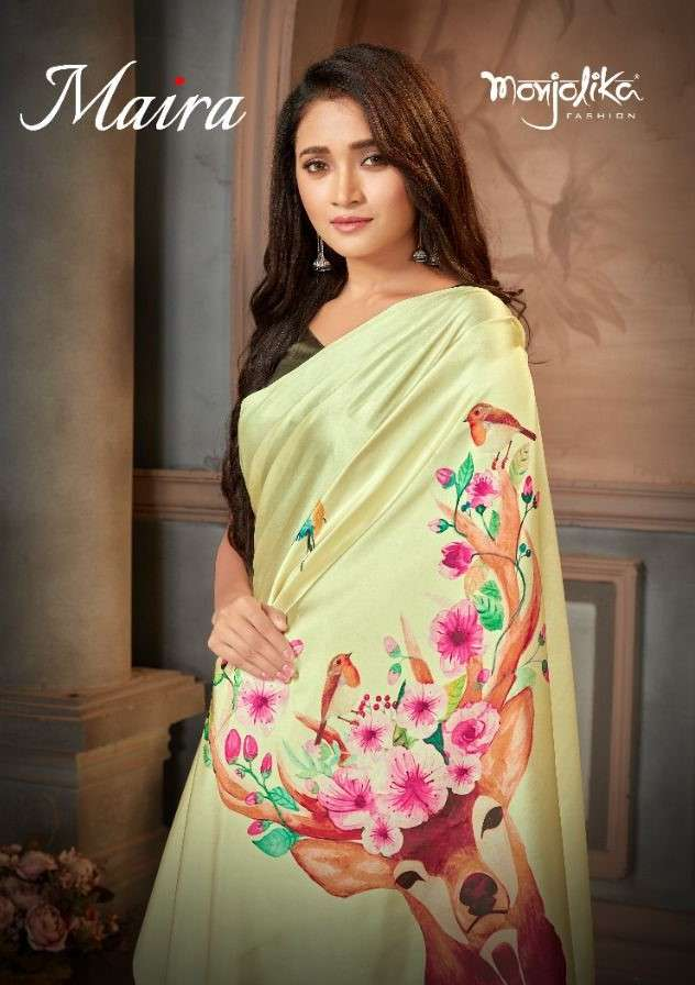 Monjolika Fashion Maira Fancy Crepe Satin Saree Catalog Wholesale Dealer