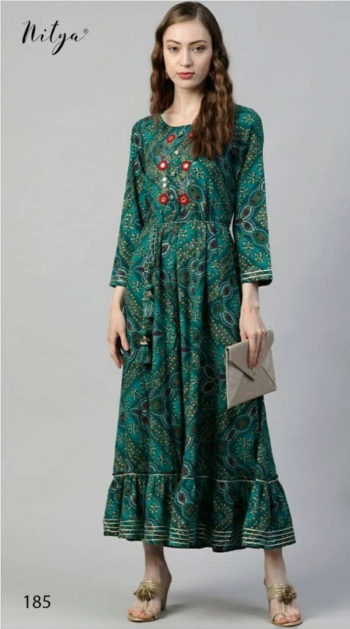 Nitya 185 Designer Long Kurti Gown New Design at Best rate