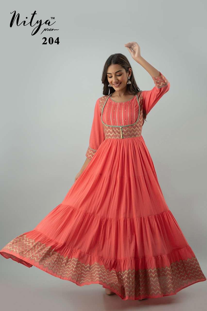 Nitya 204 Designer Navratri Wear Long Kurti Gown Catalog Wholesale Supplier