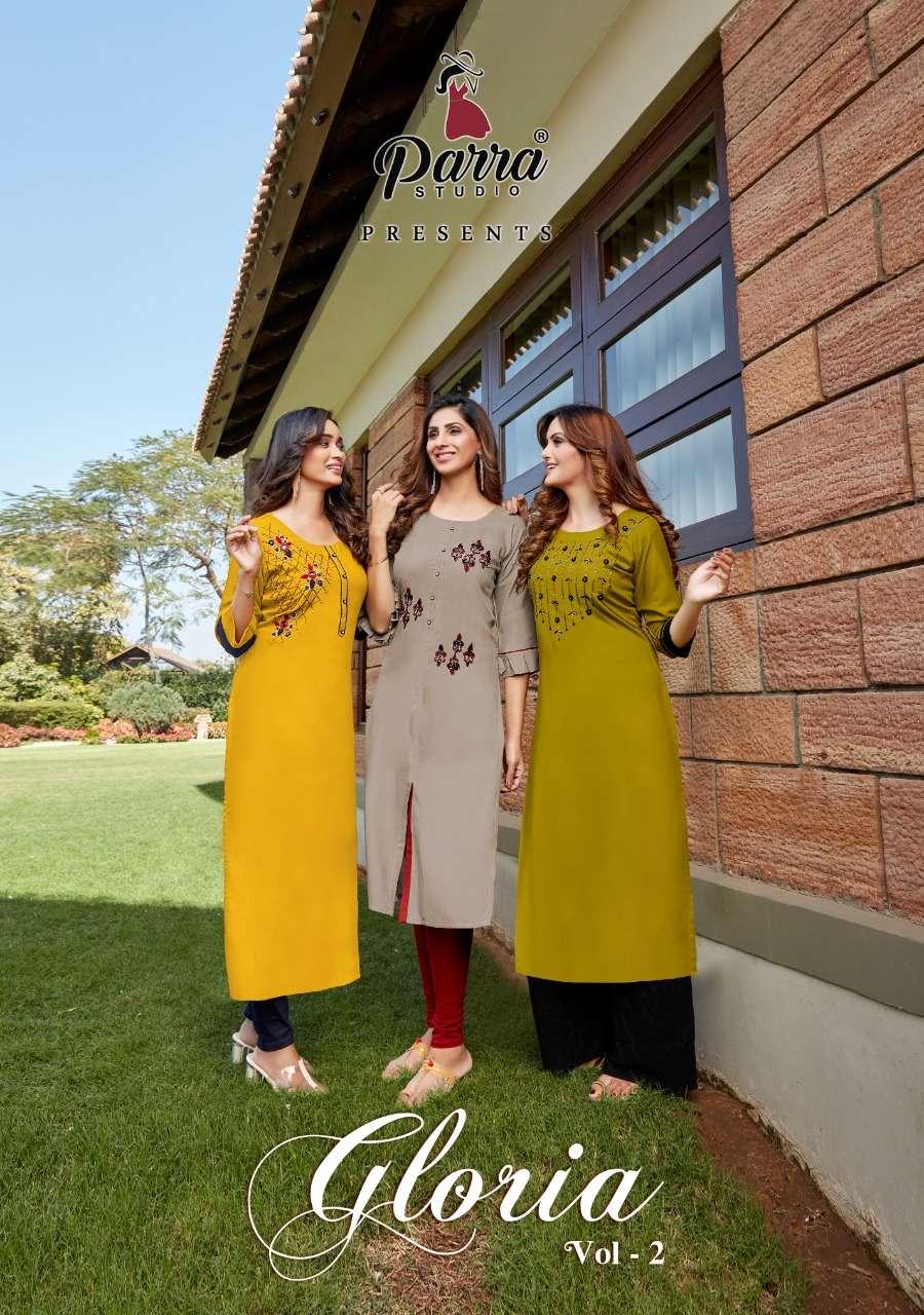 Parra Studio Gloria Vol 2 Fancy Rayon Kurti catalog Supplier in Surat
