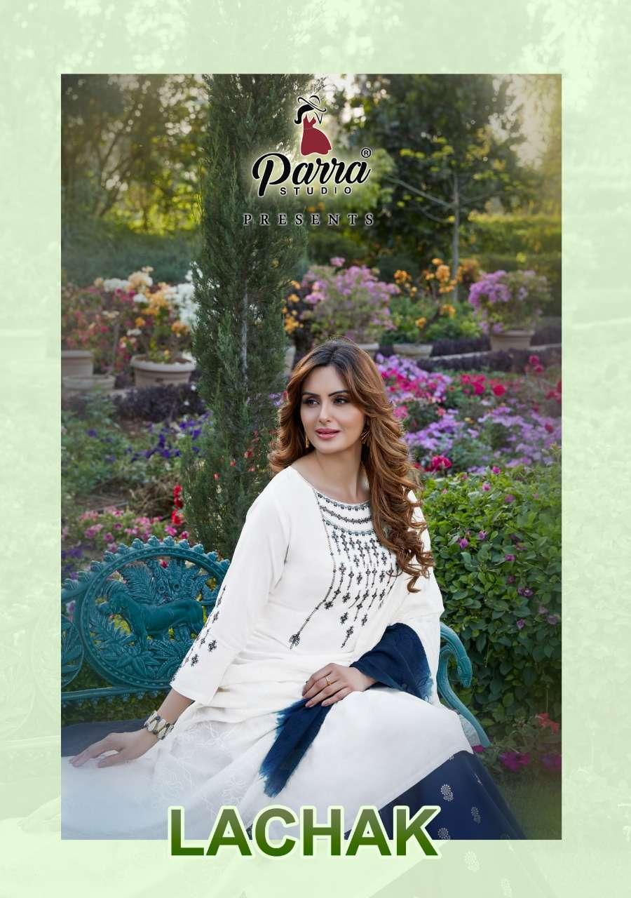 Parra Studio Lachak Vol 1 Exclusive Rayon Kurti Lehenga Dupatta Set Catalog Dealer