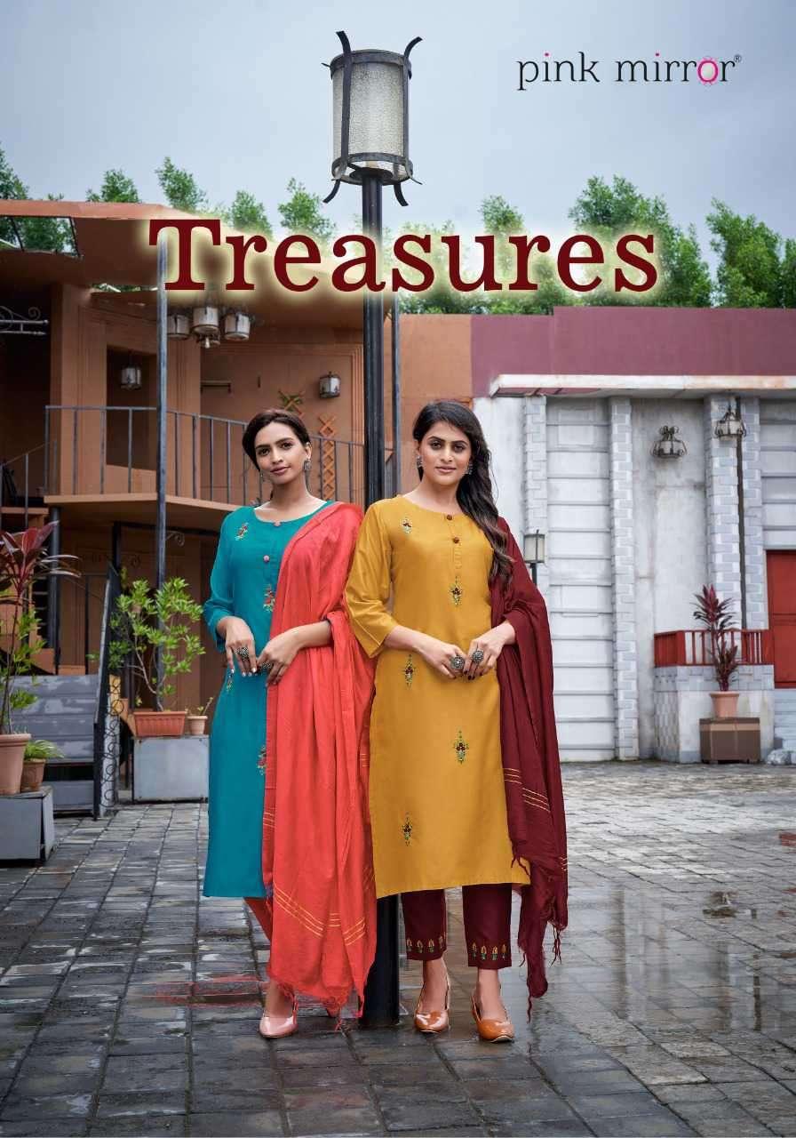 Pink Mirror Treasures Viscose Readymade Kurti Pant Dupatta Wholesale