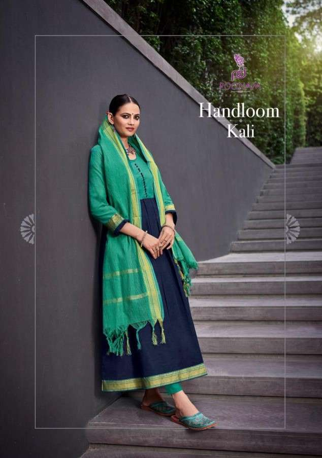Poonam Handloom Kali Style Kurti Dupatta Set Designs 2021